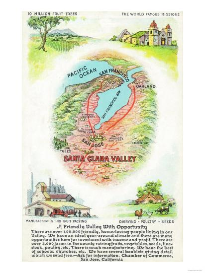 Aerial Map of Santa Clara County with Sites - Santa Clara Valley, CA-Lantern Press-Art Print