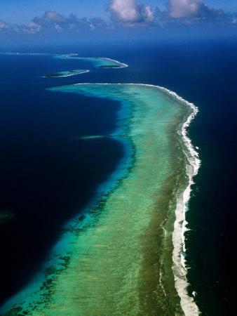 Aerial of Barrier Atoll, Micronesia-John Elk III-Photographic Print