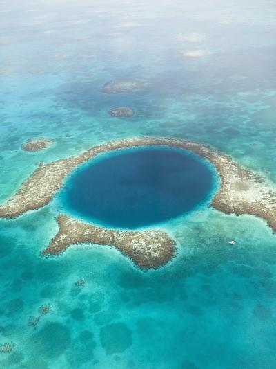 Aerial of Blue Hole, Sailboat Anchored, Lighthouse Atoll, Belize-Stuart Westmoreland-Photographic Print