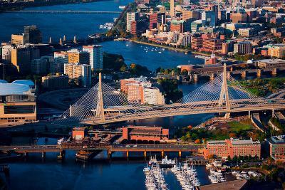 Aerial of Boston Harbor area focusing on Leonard P. Zakim Bunker Hill Memorial Bridge, Boston, MA--Photographic Print