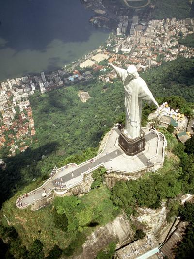 Aerial of Corcovado Christ Statue and Rio de Janeiro, Brazil-Bill Bachmann-Photographic Print