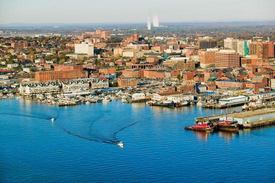 Aerial of downtown Portland Harbor and Portland Maine with view of Maine  Medical Center, Commerc    Photographic Print by | Art com