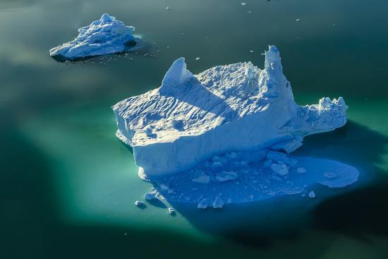 Aerial of icebergs in Sermilik Fjord.-Ralph Lee Hopkins-Photographic Print