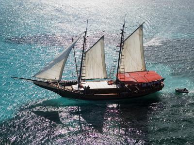 Aerial of Jolly Pirate Tourist Sail Boat Near Palm Beach-Holger Leue-Photographic Print