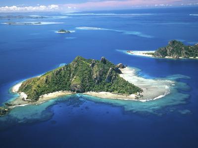 Aerial of Maolo Island, Mamanuca Islands, Fiji-David Wall-Photographic Print