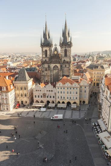 Aerial of Old Town Square. Church of Our Lady of Tryn. Prague, Czech Republic-Tom Norring-Photographic Print