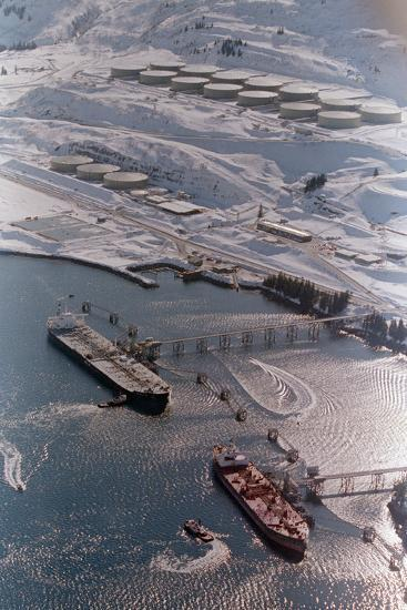 Aerial of Ships Docked in Port of Valdez--Photographic Print
