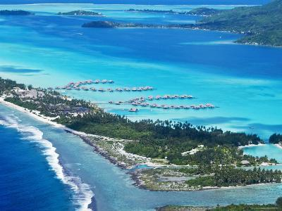Aerial of Small Motu on Edge of Bora Bora Lagoon, with Over- The-Water Bungalows on Lagoon-Emily Riddell-Photographic Print