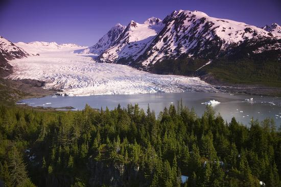 Aerial of Spencer Glacier Kenai Mountains Chugach National Forest Southcentral Alaska Summer-Design Pics Inc-Photographic Print