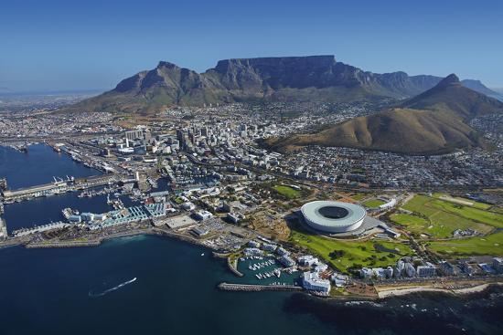 Aerial of Stadium,Waterfront, Table Mountain, Cape Town, South Africa-David Wall-Photographic Print