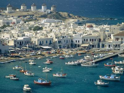 Aerial of the Harbour and Mykonos Town with Windmills in the Background, Greece-Fraser Hall-Photographic Print