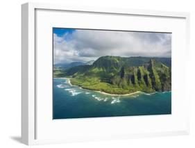 Aerial of the Napali Coast, Kauai, Hawaii, United States of America, Pacific-Michael Runkel-Framed Photographic Print