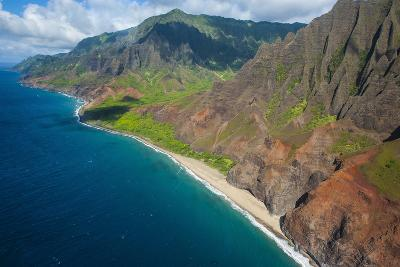 Aerial of the Rugged Napali Coast, Kauai, Hawaii, United States of America, Pacific-Michael Runkel-Photographic Print