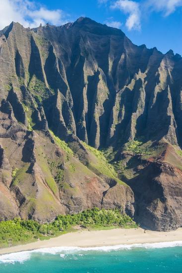 Aerial of the Rugged Napali Coast, Kauai, Hawaii, United States of America, Pacific-Michael Runkel-Photographic Print