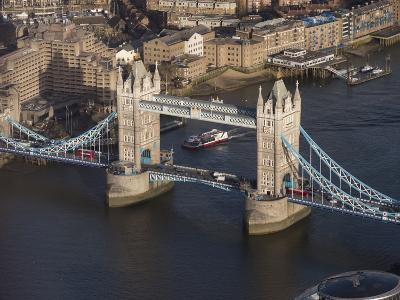 Aerial of Tower Bridge, London, England, United Kingdom, Europe-Charles Bowman-Photographic Print