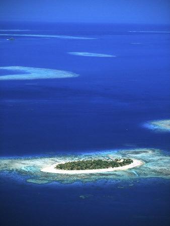 Aerial of Treasure Island Resort, Mamanuca Island Group, Fiji-David Wall-Photographic Print