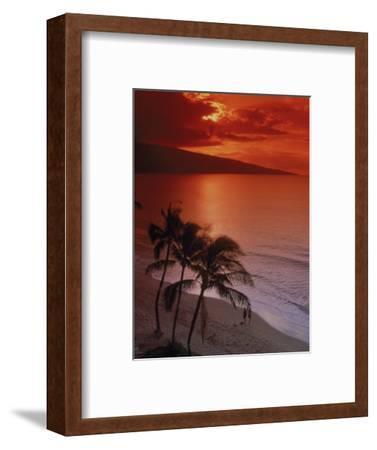 Aerial of Tropical Beach at Sunset, Maui, HI-Danny Daniels-Framed Photographic Print