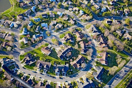 Aerial pattern of residential homes in circle outside of Philadelphia Pennsylvania, New Jersey--Photographic Print