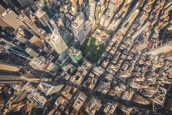 Aerial photograph taken from a helicopter in New York City, New York, USA-Stephane Legrand-Photographic Print