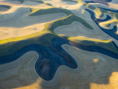 Aerial Photography at Harvest Time in the Palouse Region of Eastern Washington-Julie Eggers-Photographic Print