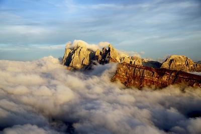 Aerial Shot from Seceda of Odle Surrounded by Clouds at Sunset in the Dolomites-Roberto Moiola-Photographic Print