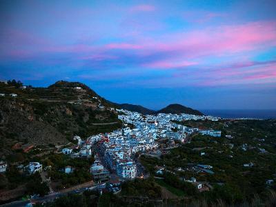 Aerial Sunset View of Frigiliana, Costa Del Sol, Malaga Province, Andalucoa, Spain--Photographic Print