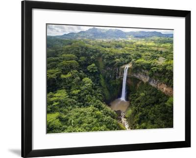 Aerial Top View Perspective of Chamarel Waterfall in the Tropical Island Jungle of Mauritius-Quality Master-Framed Photographic Print