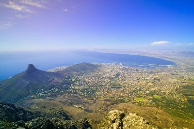 Aerial view from Table Mountain overlooking downtown Cape Town waterfront and Harbor, South Africa--Photographic Print