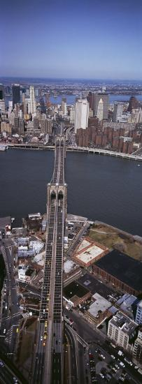 Aerial View of a Bridge, Brooklyn Bridge, Manhattan, New York City, New York State, USA--Photographic Print