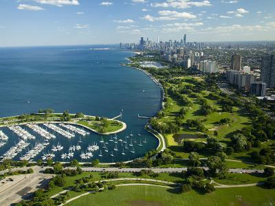 Aerial View of a City, Lake Shore Drive, Lake Michigan, Chicago, Cook County, Illinois, USA--Photographic Print