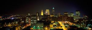 Aerial View of a City Lit Up at Night, Cleveland, Ohio, USA