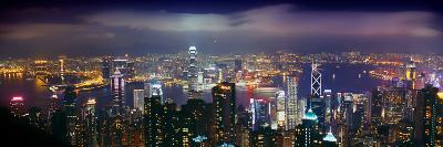 Aerial View of a City Lit Up at Night, Hong Kong, China--Photographic Print