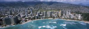 Aerial View of a City, Waikiki Beach, Honolulu, Oahu, Hawaii, USA