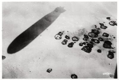 Aerial View of a Desert Settlement, with a Shadow Cast by a Zeppelin, 1931--Giclee Print