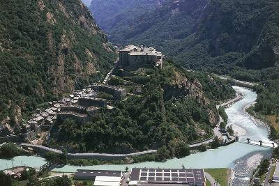 Aerial View of a Fort, Forte Di Bard, Valle D'Aosta, Italy--Photographic Print