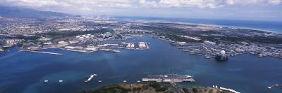 Aerial View of a Harbor, Pearl Harbor, Honolulu, Oahu, Hawaii, USA--Photographic Print