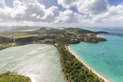 Aerial View of a Lagoon on the Caribbean Island of Antigua, Leeward Islands, West Indies-Roberto Moiola-Photographic Print