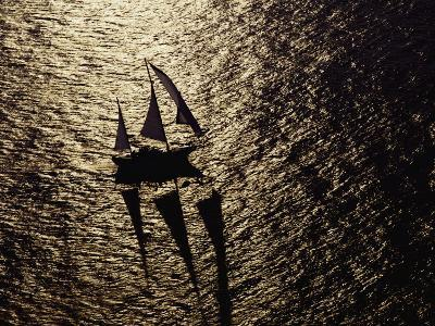 Aerial View of a Sailing Vessel at Sea-Kenneth Garrett-Photographic Print