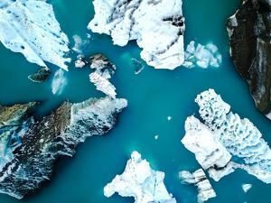 Aerial View of Amazing Glacier Patterns and Shapes in Jokulsarlon Lake, Iceland. Glacial Lagoon Wit