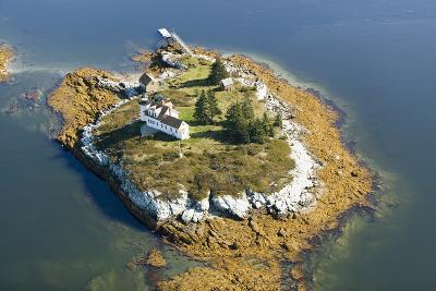 Aerial View of an Island and Lighthouse near Acadia National Park, Maine-Joseph Sohm-Photographic Print