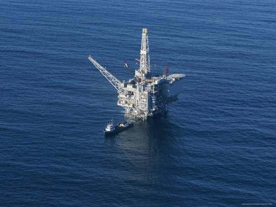 Aerial View of an Oil Rig in the Santa Barbara Channel-Rich Reid-Photographic Print