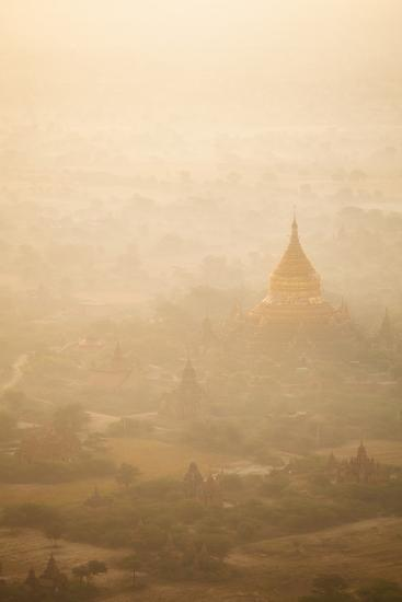 Aerial View of Ancient Temples (More Than 2200 Temples) of Bagan at Sunrise in Myanmar-Harry Marx-Photographic Print
