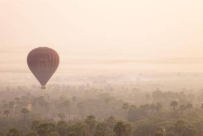 Aerial View of Ancient Temples of Bagan at Sunrise with Balloon in Myanmar-Harry Marx-Photographic Print