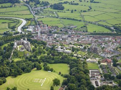 Aerial View of Arundel Castle, Cricket Ground and Cathedral, Arundel, West Sussex, England, UK-Peter Barritt-Photographic Print