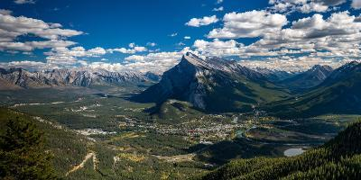 Aerial view of Banff town and Mount Rundle, Banff National Park, Alberta, Canada--Photographic Print