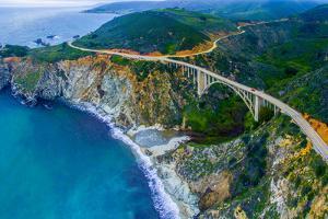 Aerial view of Bixby Creek Bridge at Pacific Coast, Big Sur, California, USA