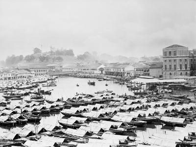 Aerial View of Boat Quai of Singapore--Photographic Print