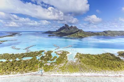Aerial View of Bora Bora Island with St Regis and Four Seasons Resorts, French Polynesia-Matteo Colombo-Photographic Print
