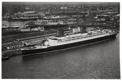 Aerial View of Bremen Harbour, Germany, and the Liner 'Europa, from a Zeppelin, C1931--Giclee Print