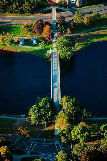 Aerial View of bridge across Charles River, Boston, MA--Photographic Print